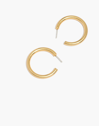 Chunky Medium Hoop Earrings in vintage gold image 1