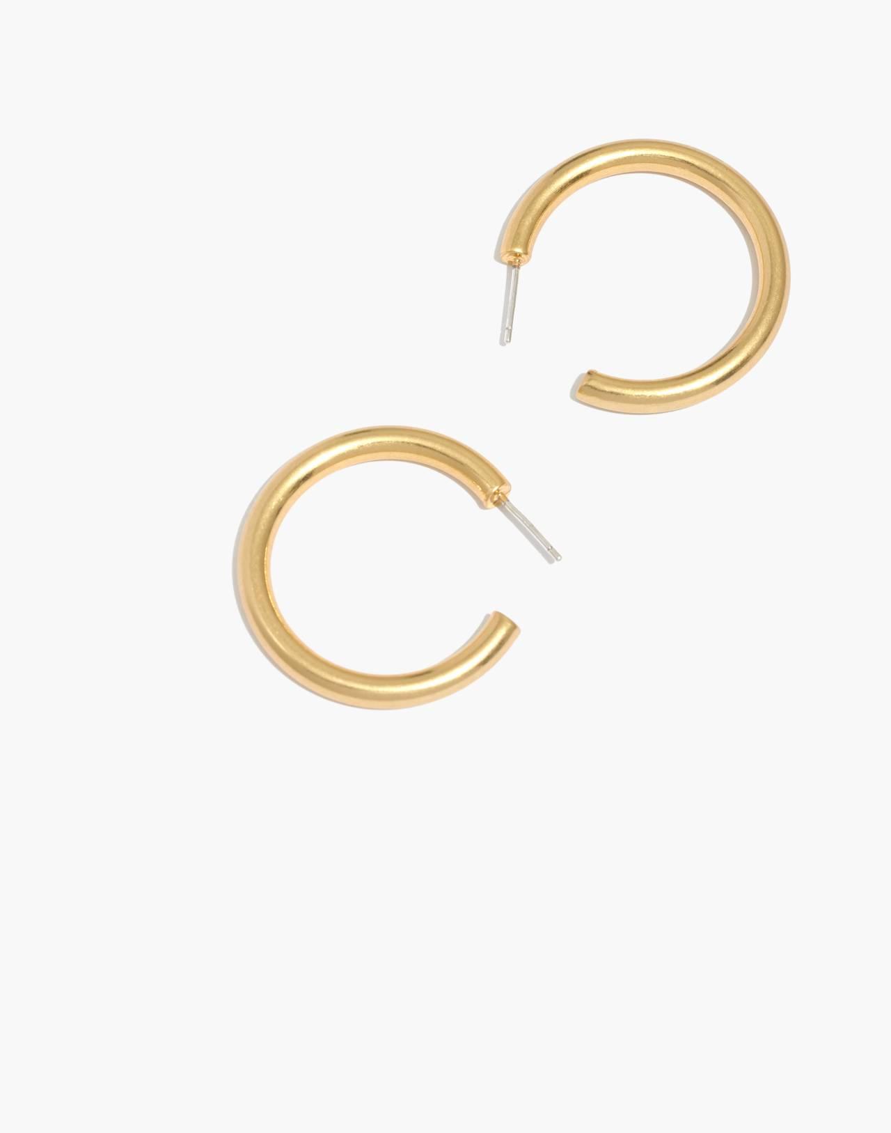 Chunky Medium Hoop Earrings in vintage gold image 1