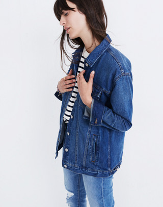 The Oversized Jean Jacket in Fellows Wash: Embroidered Edition in classic image 2