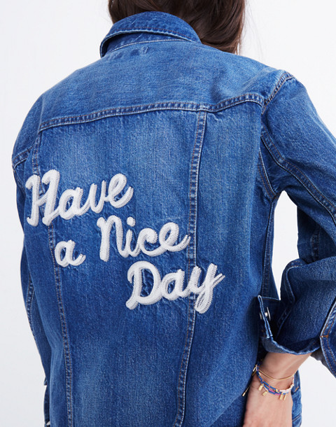 The Oversized Jean Jacket in Fellows Wash: Embroidered Edition in classic image 3
