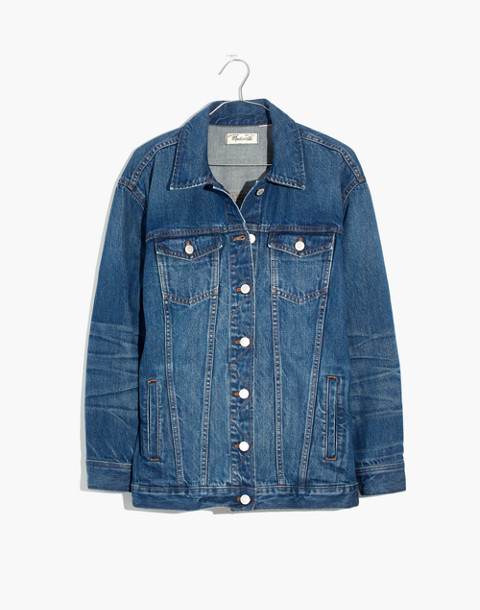 The Oversized Jean Jacket in Fellows Wash: Embroidered Edition in classic image 4