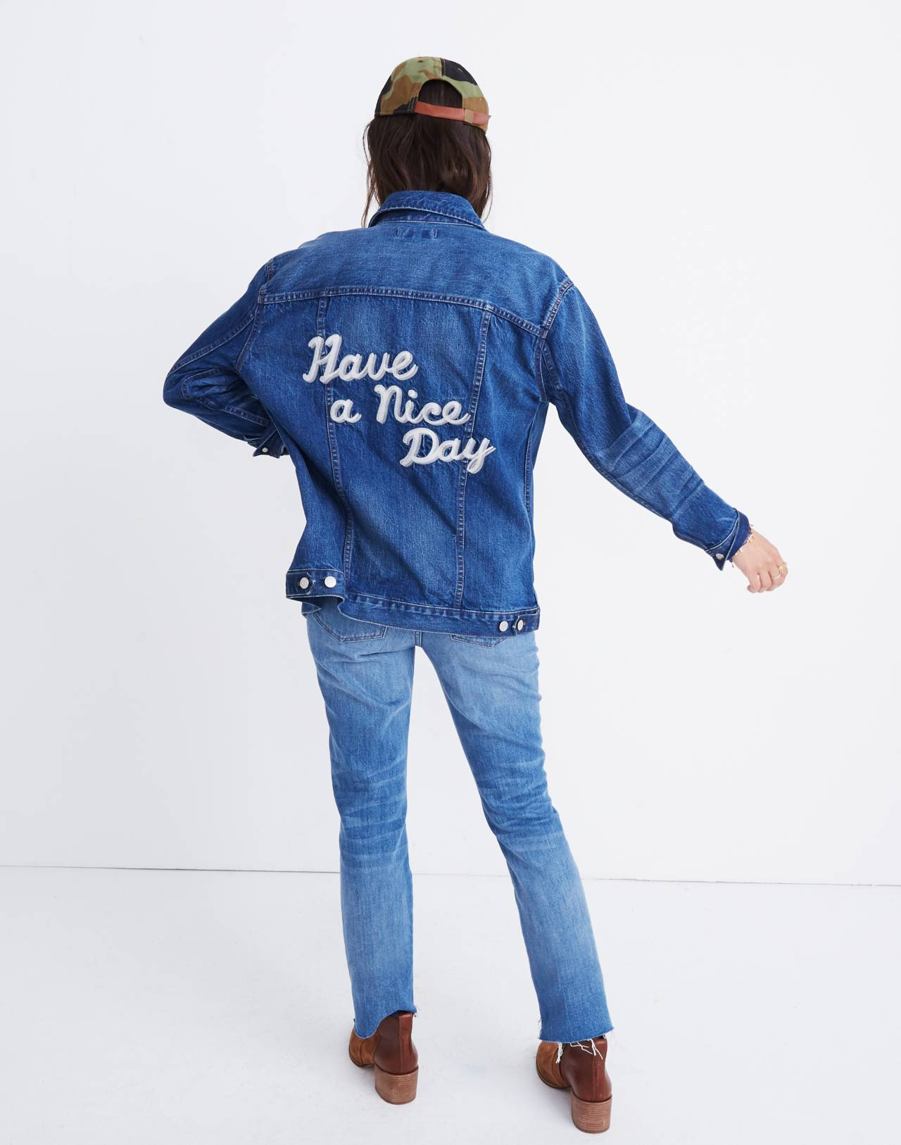 The Oversized Jean Jacket in Fellows Wash: Embroidered Edition in classic image 1