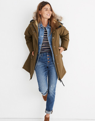 Madewell x Penfield® Deerfield A-Line Parka in olive image 2
