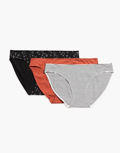 3-Pack Cotton-Modal® Bikini Undies Set in black red ivory image 2