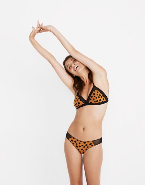 Mesh-Trimmed Michele Bralette in Leopard Dot in leopard carrot cake image 1