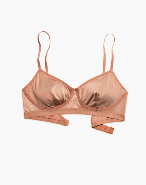 Satin Emily Bralette in dusty clay image 4