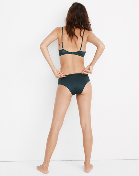 Satin Cheeky Bikini in smoky spruce image 3