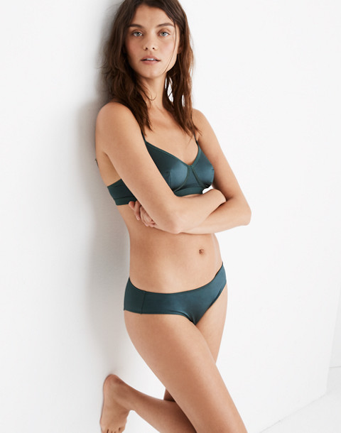 Satin Cheeky Bikini in smoky spruce image 1
