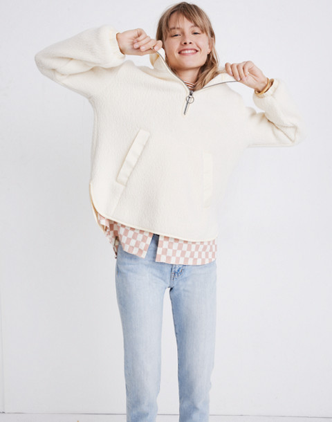 Polartec® Fleece Popover Jacket in antique cream image 1