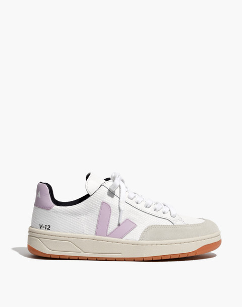 Veja™ V-12 Mesh Sneakers in White and Lilac in white lilac image 3