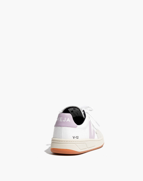 Veja™ V-12 Mesh Sneakers in White and Lilac in white lilac image 4