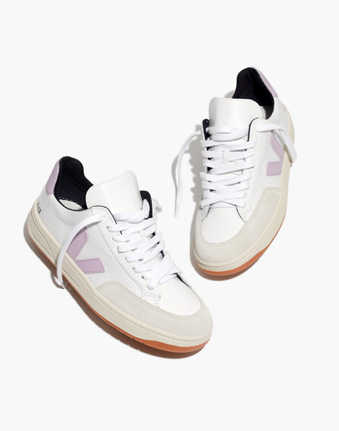 Veja™ V-12 Mesh Sneakers in White and Lilac in white lilac image 1