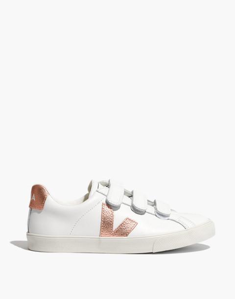 Veja™ 3-Lock Esplar Low Sneakers in White and Gold in white gold image 3