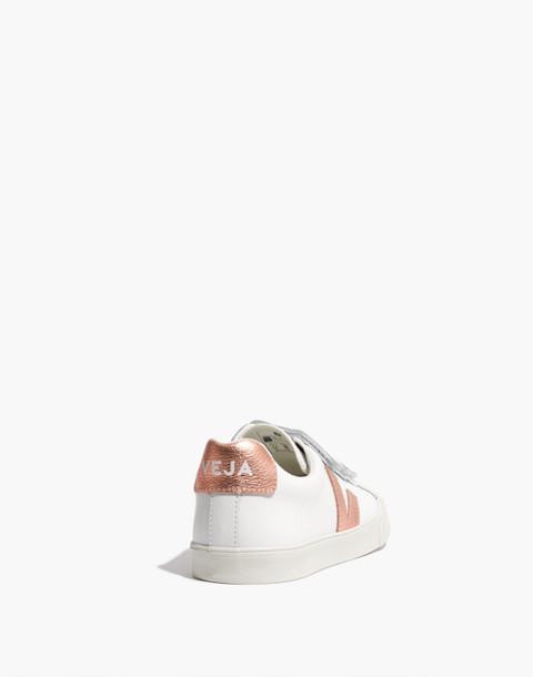Veja™ 3-Lock Esplar Low Sneakers in White and Gold in white gold image 4