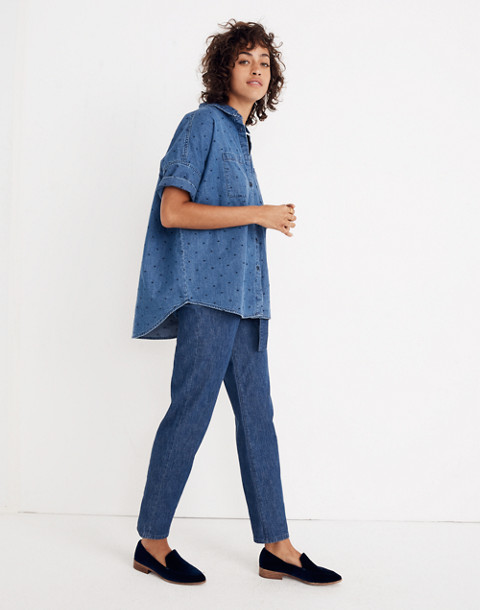 Denim Courier Shirt in Metallic Dots in goodlet wash image 2