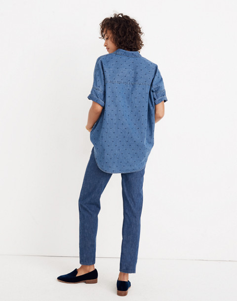 Denim Courier Shirt in Metallic Dots in goodlet wash image 3