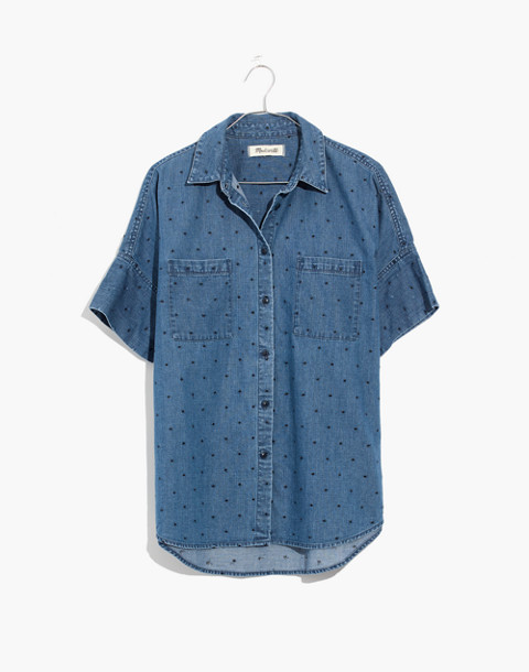 Denim Courier Shirt in Metallic Dots in goodlet wash image 4