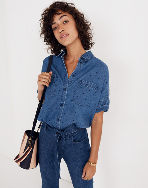 Denim Courier Shirt in Metallic Dots in goodlet wash image 1