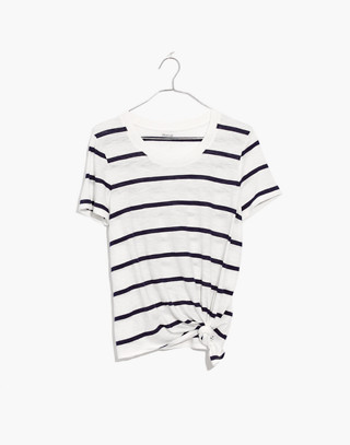 Whisper Cotton Knot-Front Tee in Creston Stripe