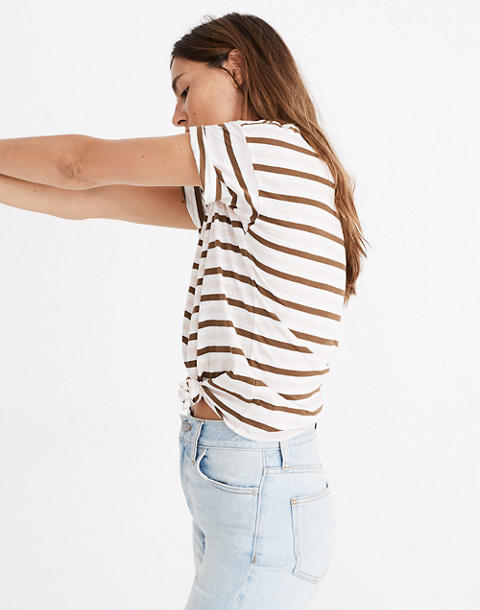 Whisper Cotton Knot-Front Tee in Myers Stripe in peach blush image 2