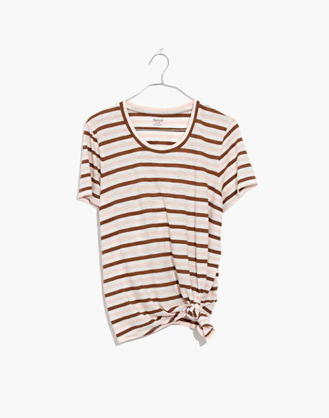 Whisper Cotton Knot-Front Tee in Myers Stripe in peach blush image 4