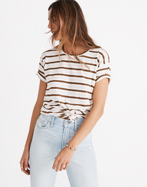 Whisper Cotton Knot-Front Tee in Myers Stripe in peach blush image 1