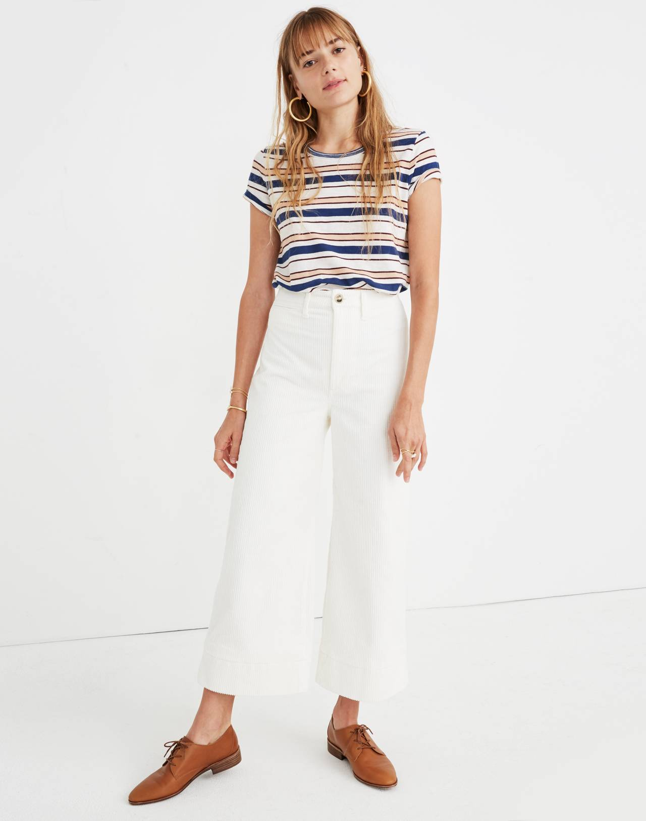 Emmett Wide-Leg Crop Pants in Corduroy in bright ivory image 2
