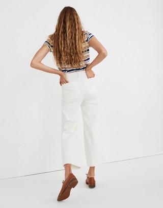 Petite Emmett Wide-Leg Crop Pants in Corduroy in bright ivory image 3