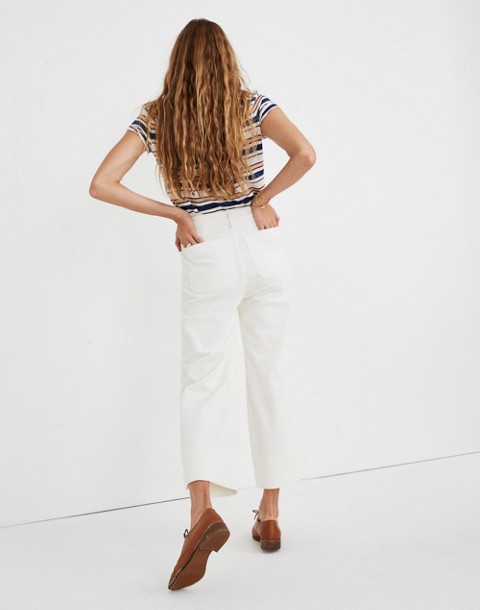 Emmett Wide-Leg Crop Pants in Corduroy in bright ivory image 3