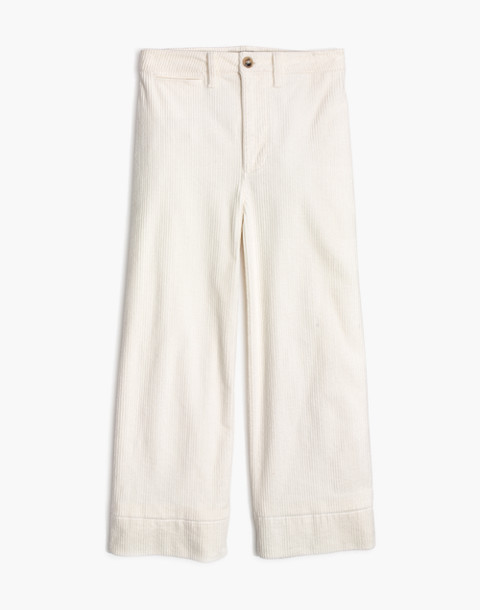 Emmett Wide-Leg Crop Pants in Corduroy in bright ivory image 4