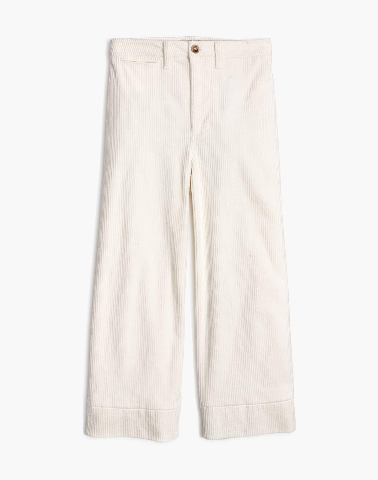 Petite Emmett Wide-Leg Crop Pants in Corduroy in bright ivory image 4