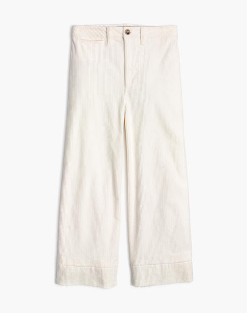 Petite ivory wide leg crop pants 1