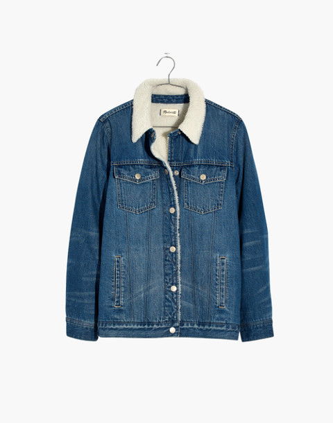 The Oversized Jean Jacket in Pinehill Wash: Sherpa Edition in pinehill wash image 4