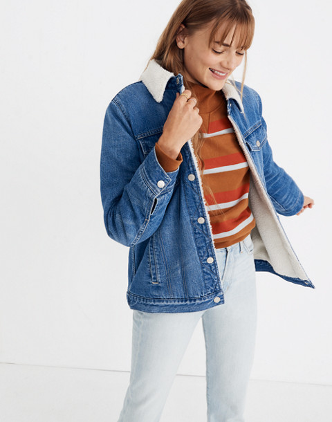 The Oversized Jean Jacket in Pinehill Wash: Sherpa Edition in pinehill wash image 1
