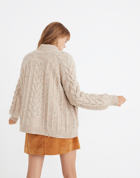 Bubble-Sleeve Cableknit Cardigan Sweater in donegal funfetti image 3