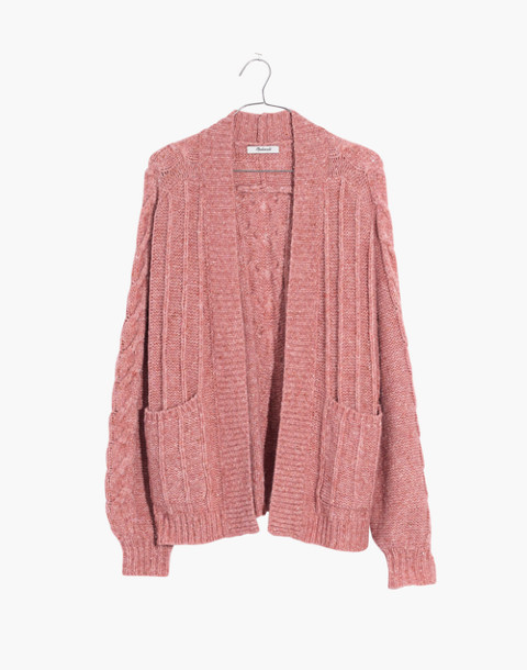 Bubble-Sleeve Cableknit Cardigan Sweater in donegal candy image 4