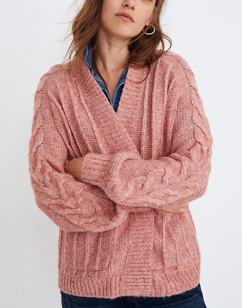 Bubble-Sleeve Cableknit Cardigan Sweater in donegal candy image 1