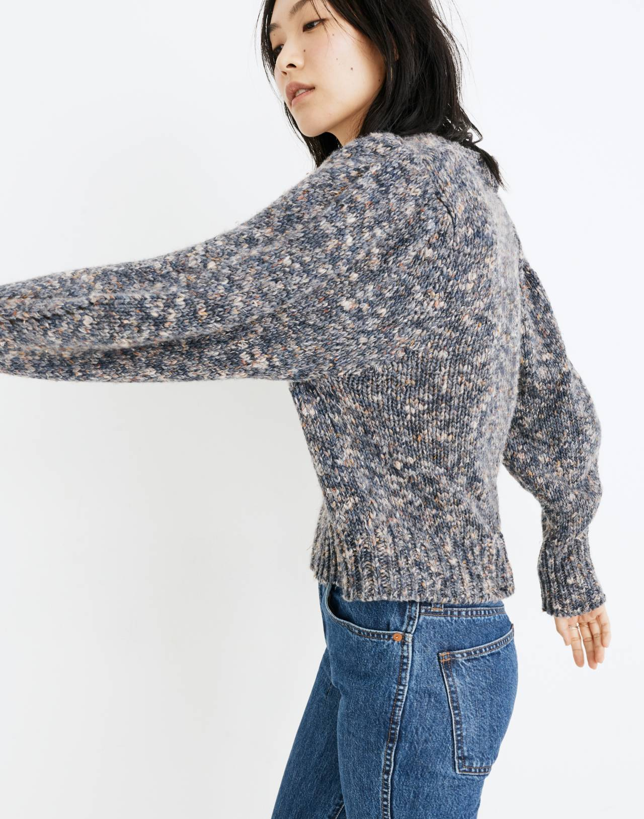 Pleat-Shoulder Pullover Sweater in marled indigo image 2