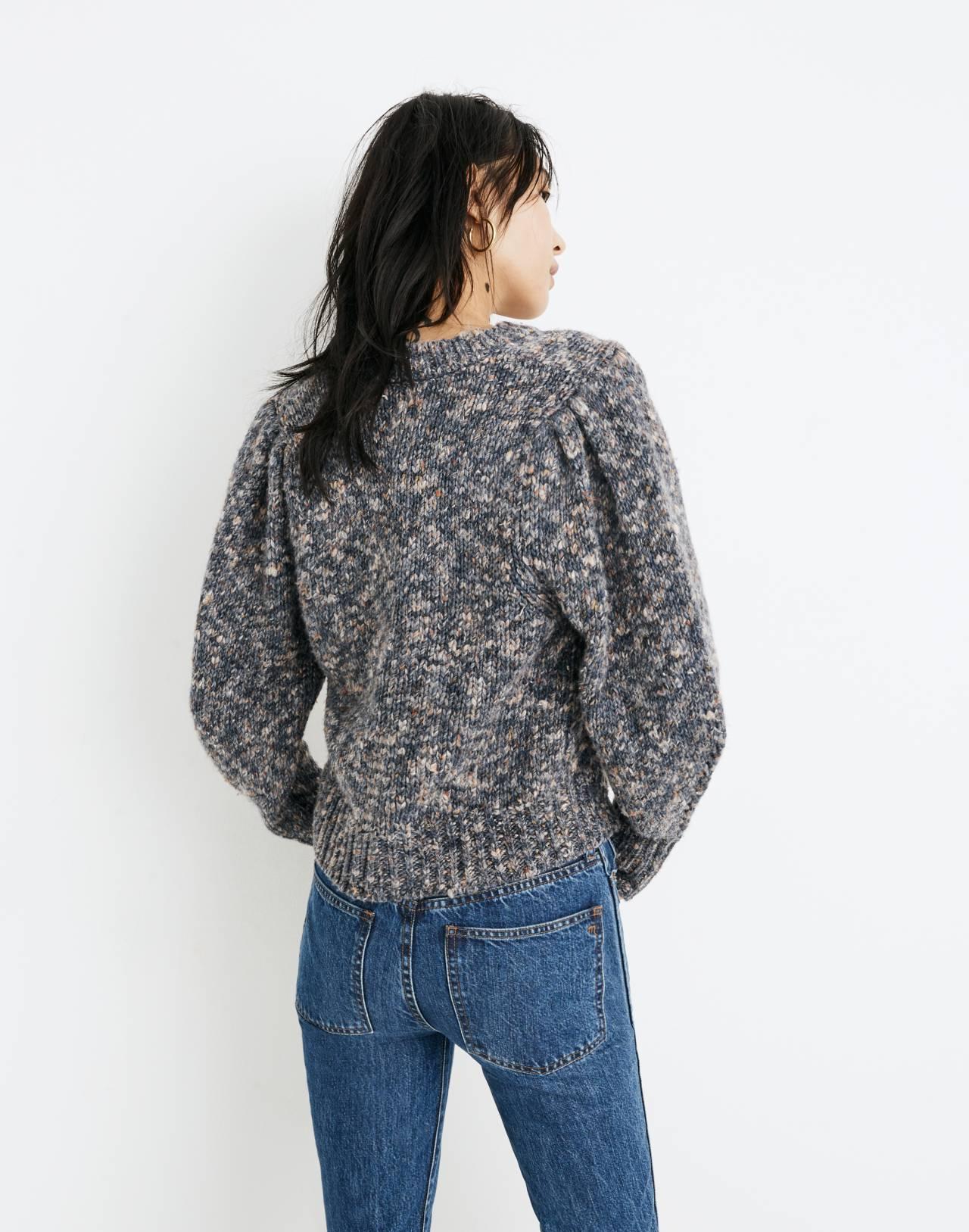 Pleat-Shoulder Pullover Sweater in marled indigo image 3