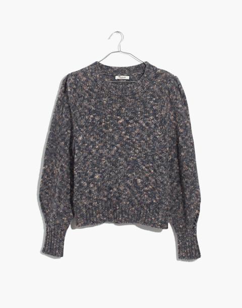 Pleat-Shoulder Pullover Sweater in marled indigo image 4