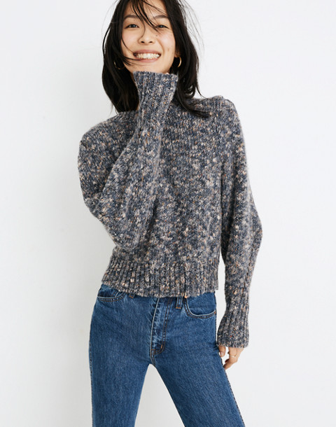 Pleat-Shoulder Pullover Sweater in marled indigo image 1