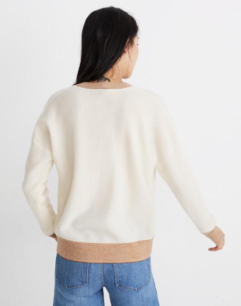 Tipped Cashmere Sweatshirt in ocean cream image 3