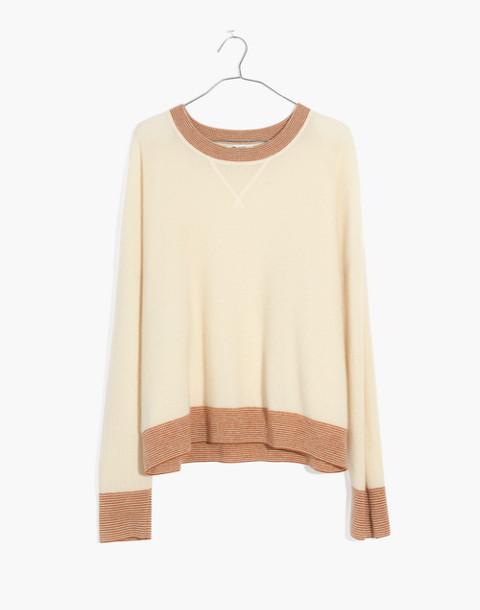Tipped Cashmere Sweatshirt in ocean cream image 4
