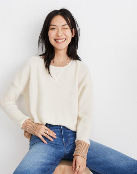 Tipped Cashmere Sweatshirt in ocean cream image 1
