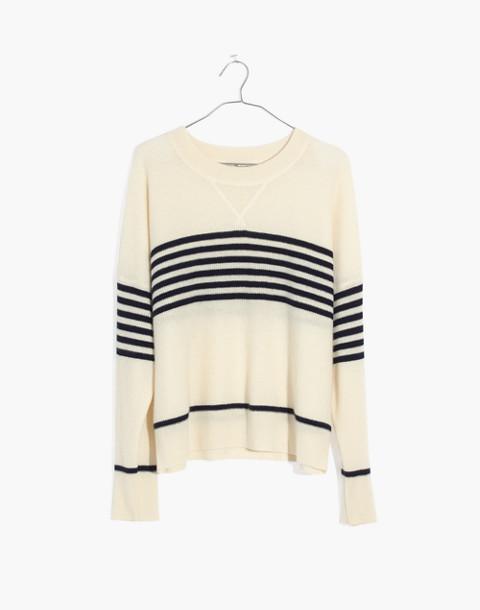 Cashmere Sweatshirt in Nautical Stripe in calico cream image 4