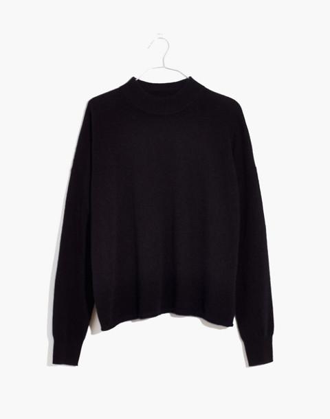 Cashmere Mockneck Sweater in true black image 1