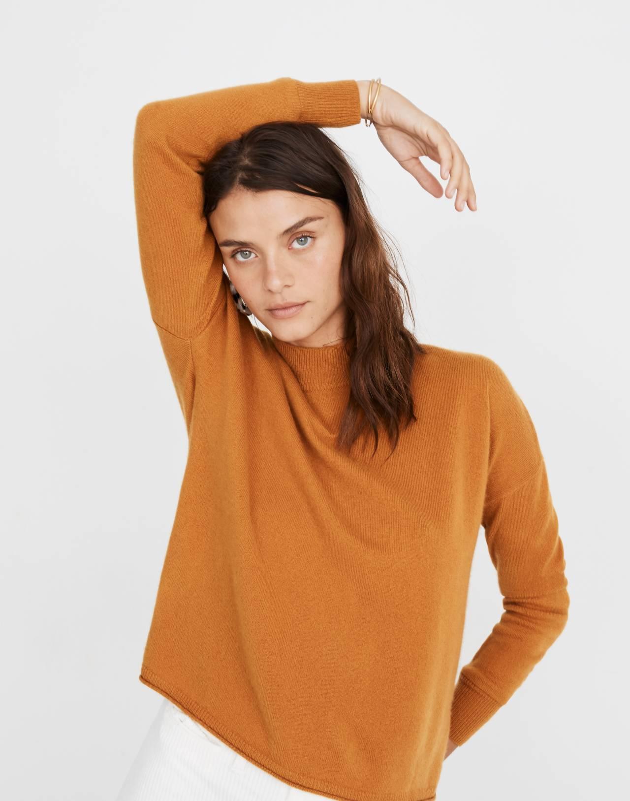 Cashmere Mockneck Sweater in bittersweet image 1
