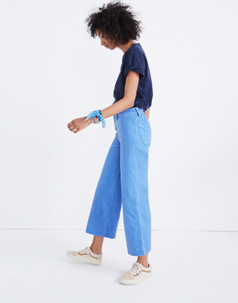 Tall Emmett Wide-Leg Crop Pants: Button-Front Edition in fountain image 3