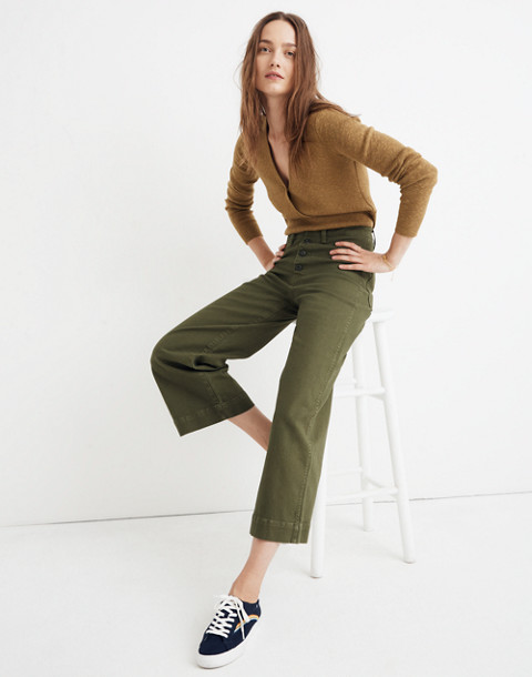 Tall Emmett Wide-Leg Crop Pants: Button-Front Edition in loden image 2