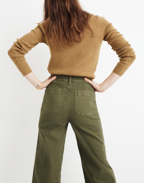 Tall Emmett Wide-Leg Crop Pants: Button-Front Edition in loden image 3